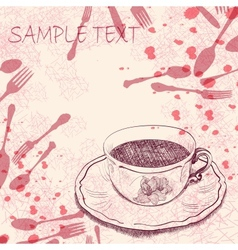 Handwritten background with a tea cup vector image