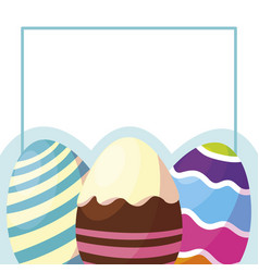 happy easter eggs painted frame vector image