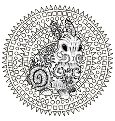High detail patterned rabbit in zentangle style vector image