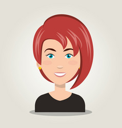 icon woman character fcae isolated vector image