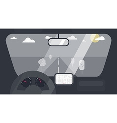 Inside car interior vector image