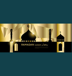 Islamic mosque golden and green background vector