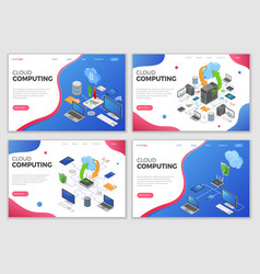 Isometric cloud computing technology templates vector