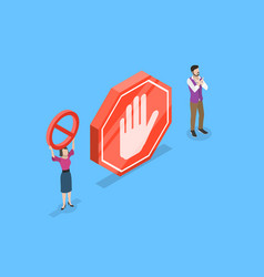 isometric flat concept of prohibited vector image