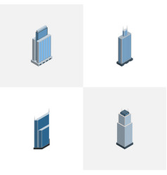 Isometric skyscraper set of residential urban vector