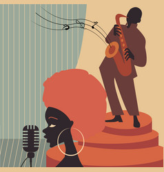 jazz music players with trumpet saxophone vector image