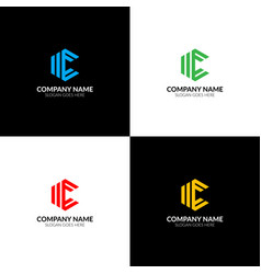 Letter c in rhombus logo icon flat vector
