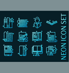 library set icons blue glowing neon style vector image