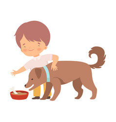 Little boy feeding his puppy vector