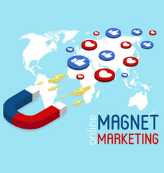 magnet marketing banner in isometric style vector image