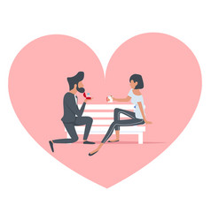 man proposing to a woman sitting bench vector image
