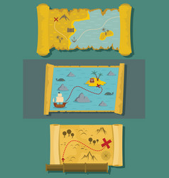 map of treasure banner horizontal set flat style vector image
