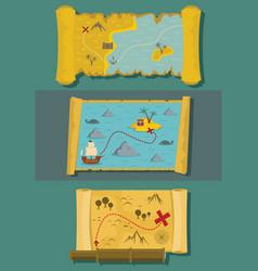 Map of treasure banner horizontal set flat style vector