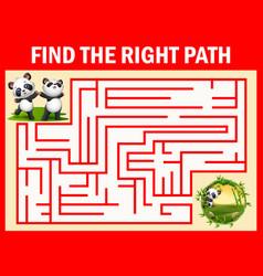 Maze game find a panda s way to bamboo garden vector