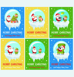 merry christmas new year vector image