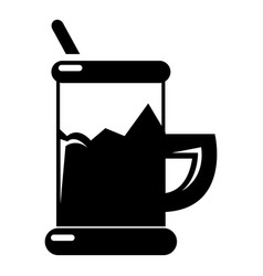 metal glass cup tea icon simple style vector image
