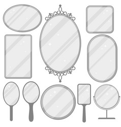mirror set realistic mirrors frame collection vector image