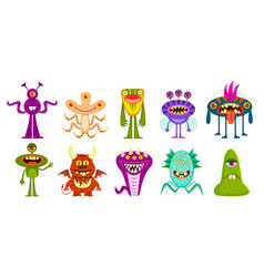 monsters cute goblins and gremlins scary aliens vector image