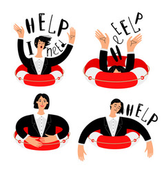 Office woman and lifebuoy vector