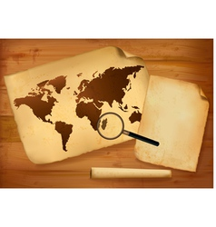 old map and paper on wooden background vector image