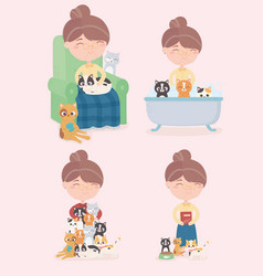 Old woman with cats bathing feeding sleeping vector