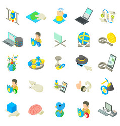 Online life icons set isometric style vector