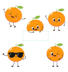 orange character with funny face set vector image