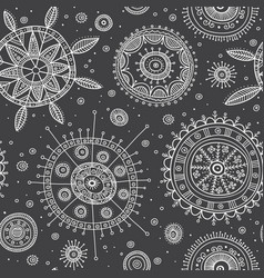 Ornate circles boho style seamless pattern vector