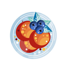 pancakes with blueberries on a vector image vector image