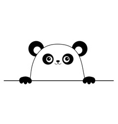 panda bear head sad face icon hands paw holding vector image