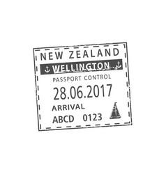 Passport control in wellington isolated visa stamp vector