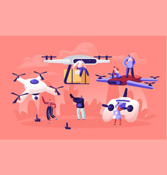 People playing and using drones for post mail vector