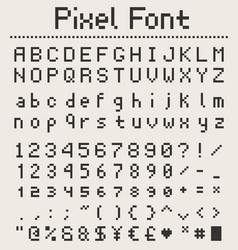 Pixel font alphabet letters and numbers retro vector