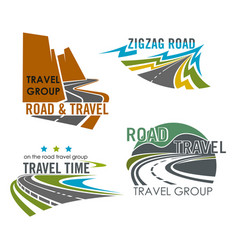 Road travel or highway construction icons vector