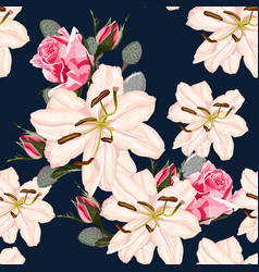 Seamless floral pattern with retro flowers vector
