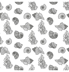 Seamless pattern sea shell vector image