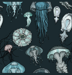seamless pattern with ocean organisms jellyfish vector image
