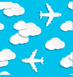 seamless pattern with paper planes and clouds vector image
