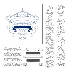 Set hand drawn flourish elements vector