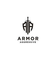 Shield armor sword initials aa military legal logo vector