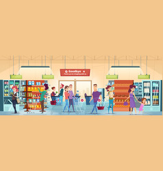 shopping people characters in retail food market vector image