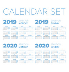 Simple 2019-2020 year calendar set vector