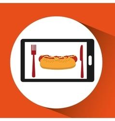 Smartphone order hot dog food online vector