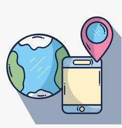 Smartphone with global ubication vector
