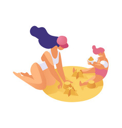Spending time with children flat concept mother vector