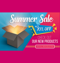 summer sale banner open box with light vector image