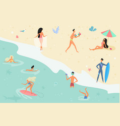 Summertime cartoon people on vector
