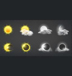sun and moon calendar icons collection vector image