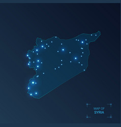 Syria map with cities luminous dots - neon lights vector