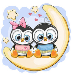 Two penguins is sitting on the moon vector